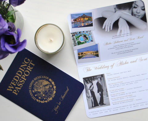 Realistic Mexican Wedding Passport Invitation