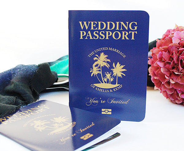 Passport Invitation custom designed with Palm Tree Cover