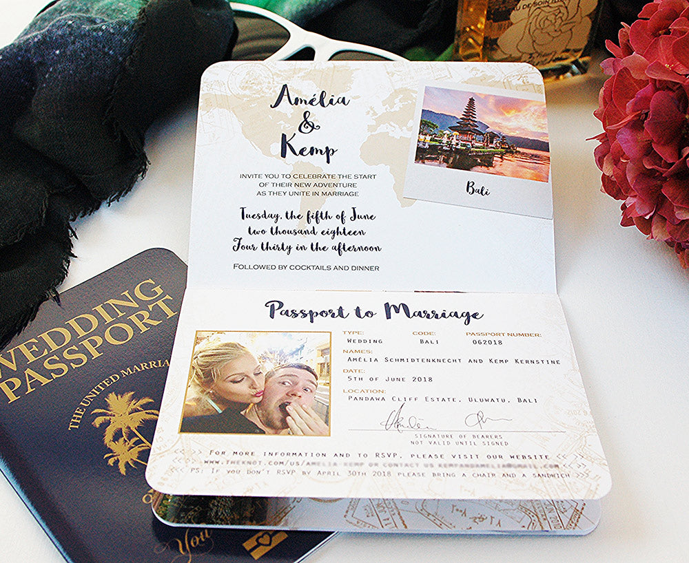 Palm Tree Tropical Passport Invitation For Bali Wedding