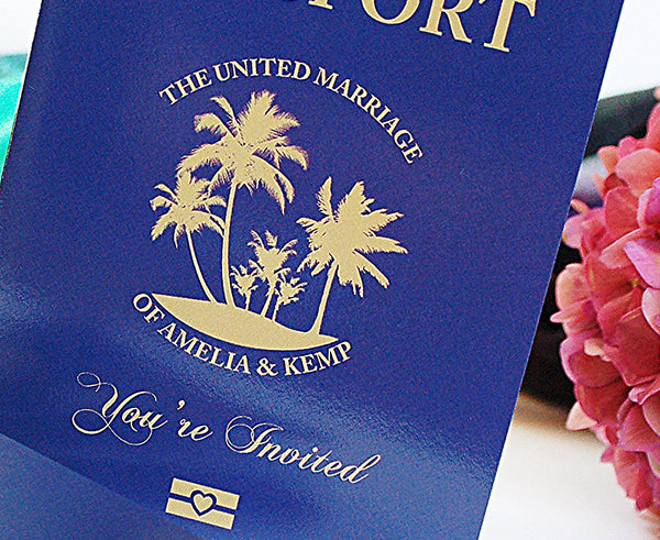 Passport Invitation with Tropical Palm Tree Cover