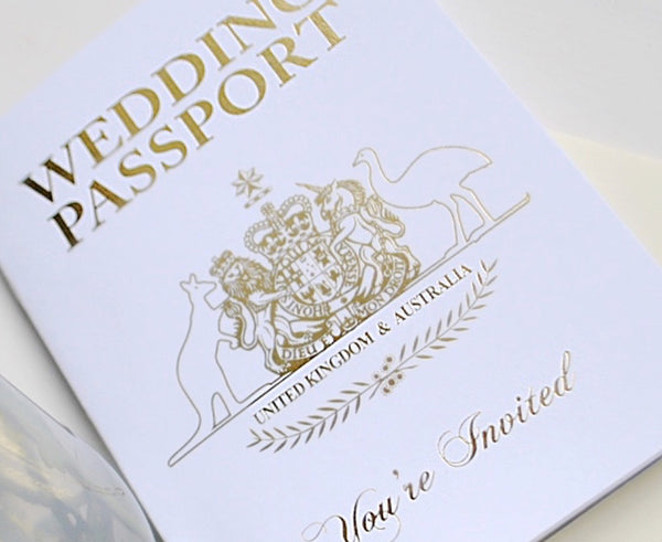 Australian and British Combined Passport Invitation with cover in white and Gold Foil