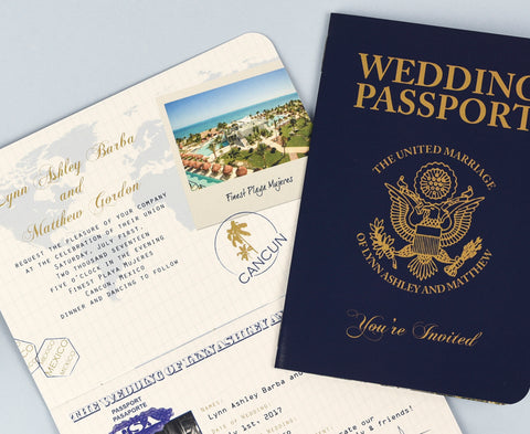 Wedding Invitation designed to look like a realistic USA Passport. What better way to invite guests to your wedding abroad or travel themed event?