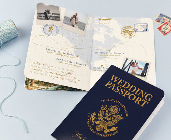 Custom passport invitation for destination wedding in Mexico designed to look like a real US Passport