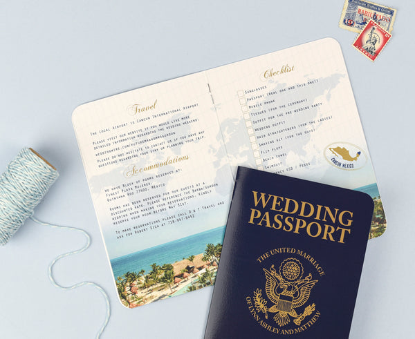 US Passport Invitation with multiple pages inside for extra space for your destination wedding details