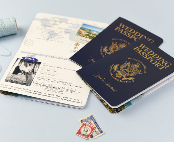 Matching RSVP cards can be created for your unique wedding passport invitation, choose from Postcards, Luggage Tags and Boarding Passes to complete the travel theme