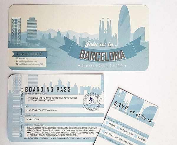 Barcelona Retro Style Airline Ticket Wedding Invitation