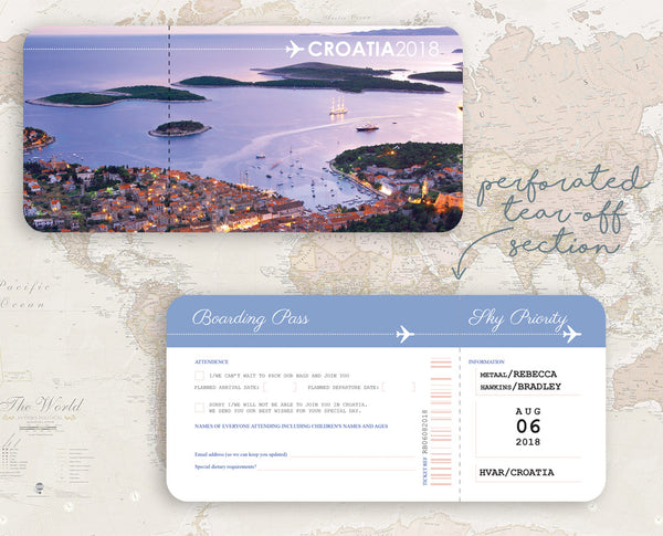 Croatia Wedding Invitation with matching Ticket RSVP
