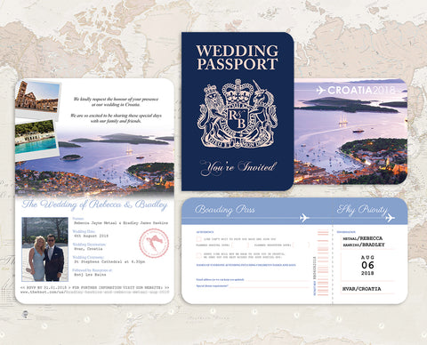 British Passport Croatia Wedding Invitation
