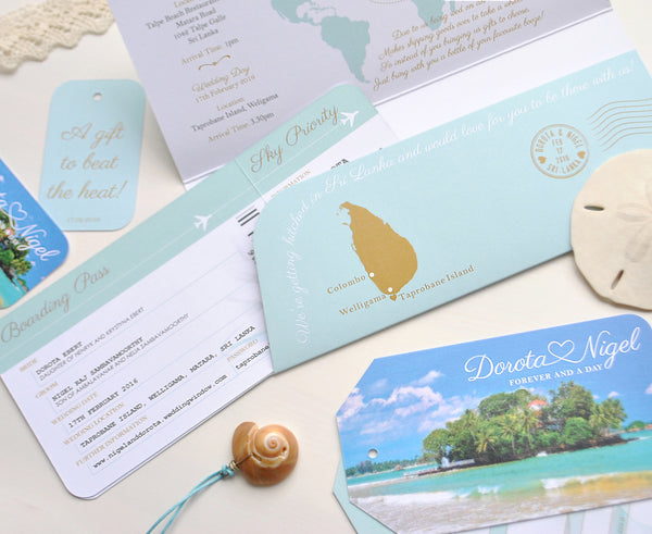 Beautiful Travel Wallet with matching Ticket Invite for Destination Wedding