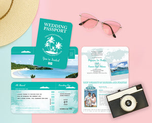 Tropical Cruise Wedding Invitation with matching Ticket RSVP