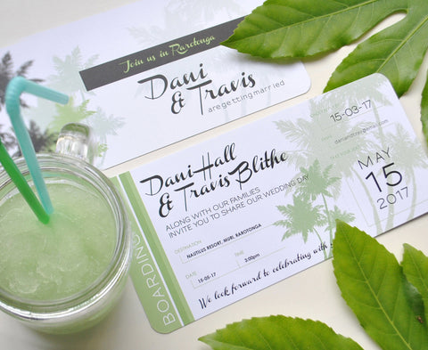 Tropical Airline Ticket Boarding Pass Style Wedding Invitation