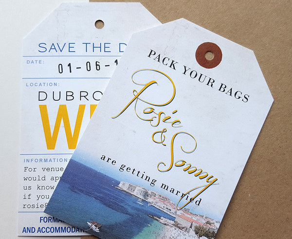 Save the Date Luggage Tags are perfect for a destination wedding abroad