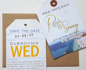 Rustic style Luggage Tag Save the Date for wedding abroad