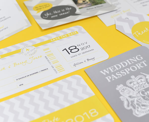 Chevron Grey and Yellow Save the Date Airline Ticket with Tear Off Section