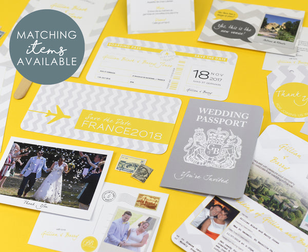Yellow Grey Chevron designed wedding stationery set
