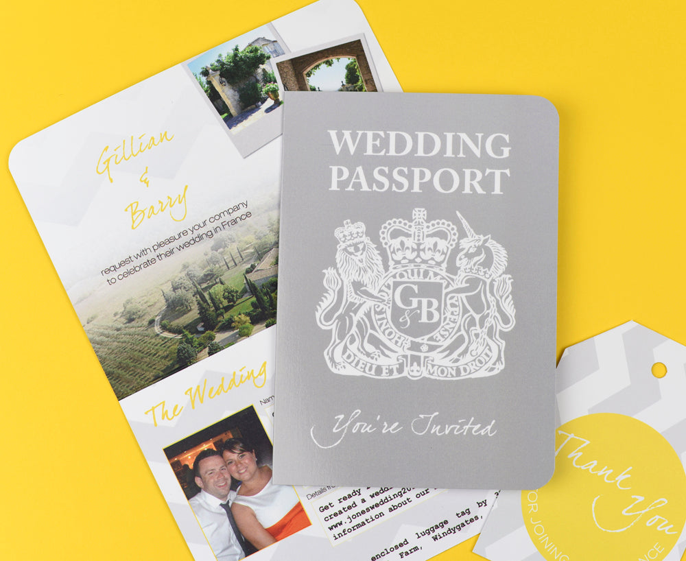 Grey and Yellow Chevron British Passport Invitation ready for you to personalise to suit your theme