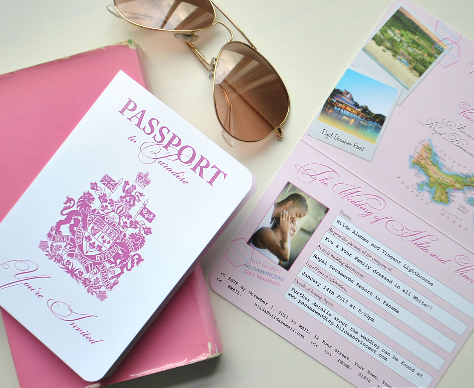 Pink Passport to Paradise Wedding Invitation for Destination Wedding in Panama