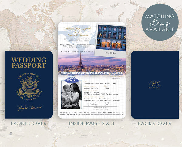 Wedding in Paris Passport Invitation