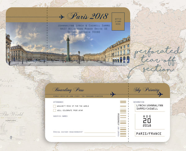 Fun RSVP Ticket Boarding Pass for Paris Wedding