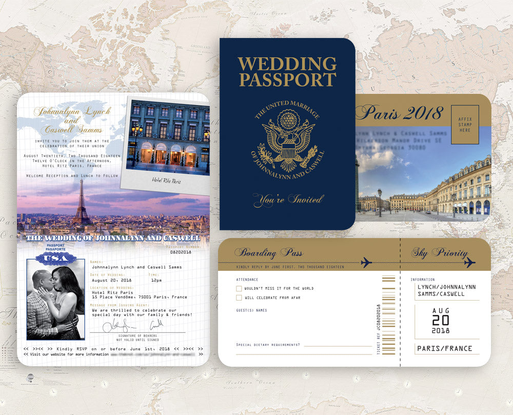 USA Paris Wedding Invitation with matching Ticket RSVP – Destination ...