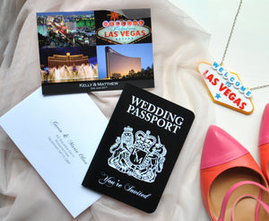 Las Vegas Wedding Passport Invitation with Matching Postcard RSVP