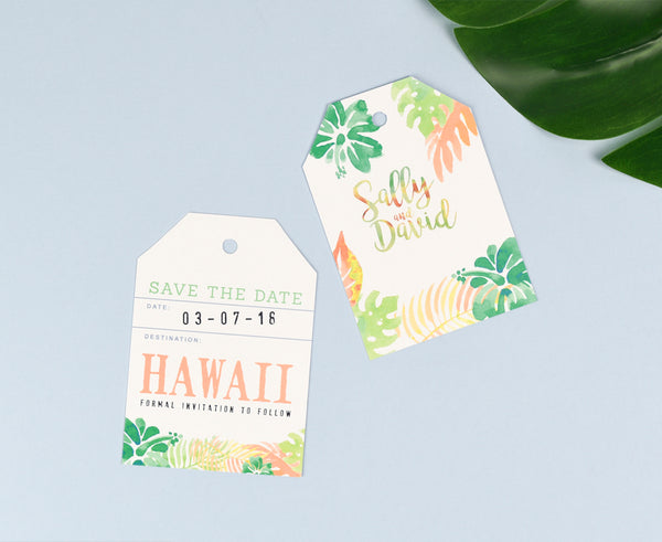 Tropical Save the Date Luggage Baggage Tag designed to match your wedding colours