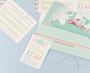 Retro Travel wallet with matching Ticket Invite for Destination Wedding