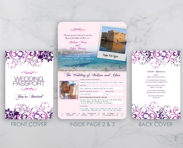 Passport Style Wedding Invitation in Floral Swirl Design