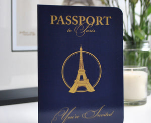 Paris Passport Invitation perfect for a Parisian Themed Wedding or Event
