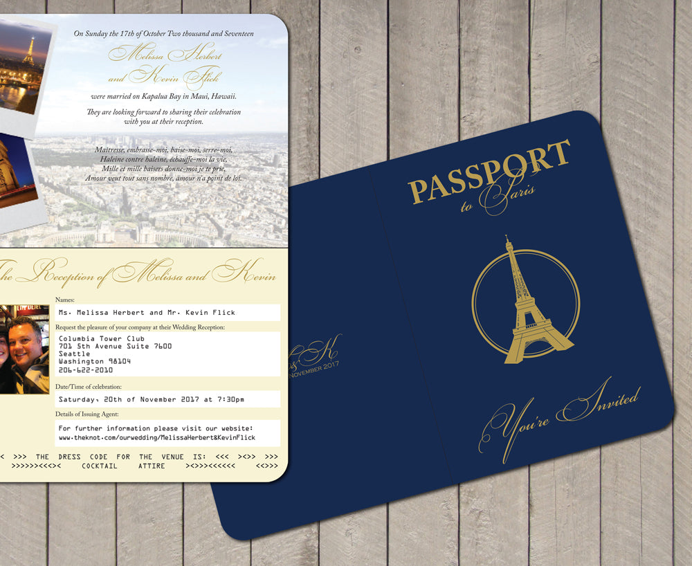 Paris Themed Passport Wedding Invitation With An Eiffel Tower Cover