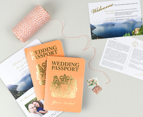 Orange and Gold Foil British Passport Invitation