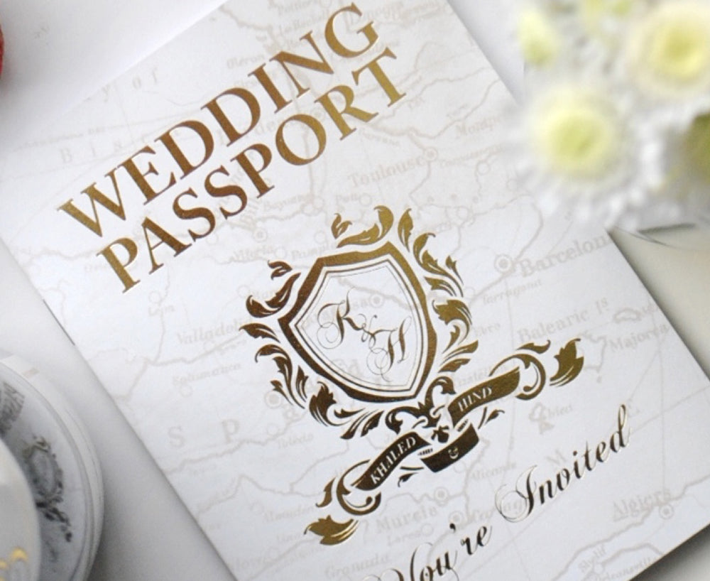 Custom designed foil block wedding invitation in style of a Passport