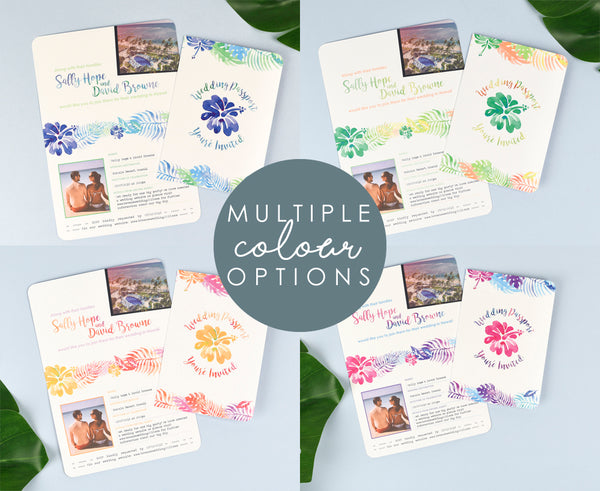 Tropical custom designed Passport to match your wedding colours perfectly