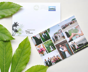 Tropical Postcard Thank You Card with Wedding Photos
