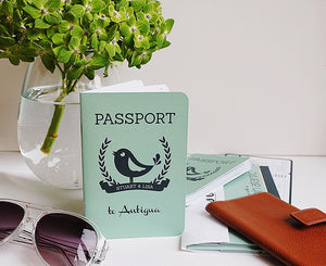 Custom designed Passport Invitation with Robin Bird Theme