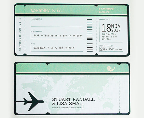 Boarding Pass Style Airline Ticket Invitation