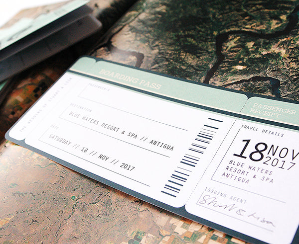 Boarding Pass Invitation to match your travel theme