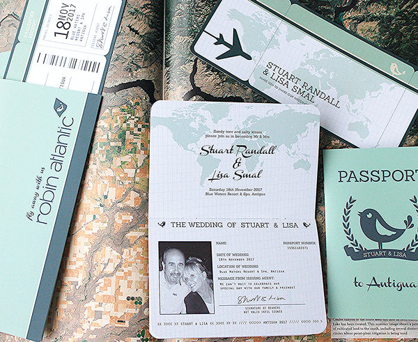 Boarding Pass with matching Passport Invitation and Travel Wallet