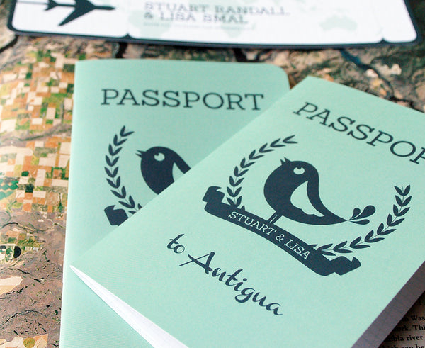 Looking for a cute Passport Invitation for your wedding abroad?