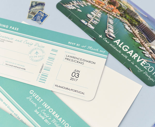 Stylish Airline Ticket Boarding Pass style Invite with tear off RSVP section