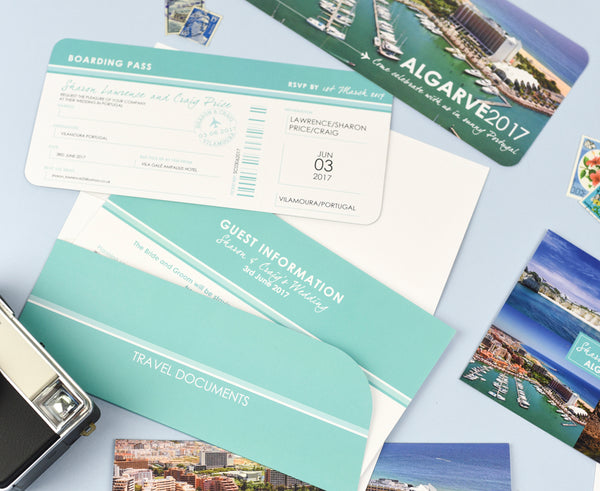 Stylish Airline Ticket Boarding Pass Invite with Matching Travel Wallet and Information Sheet