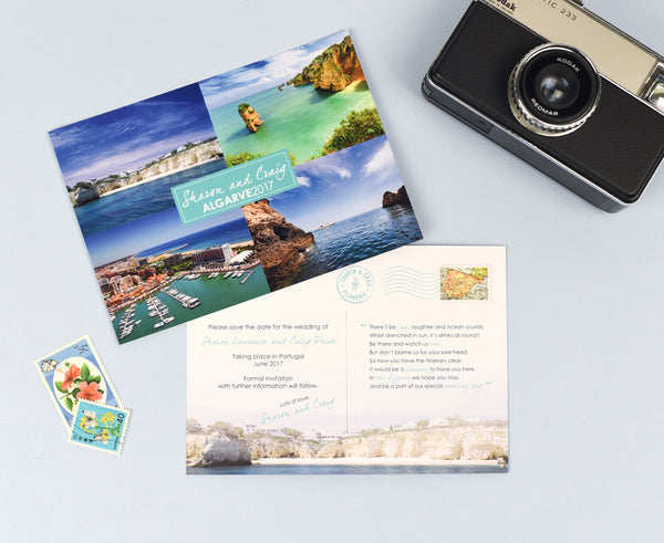 Save the Date Postcard for destination wedding in Algarve Portugal