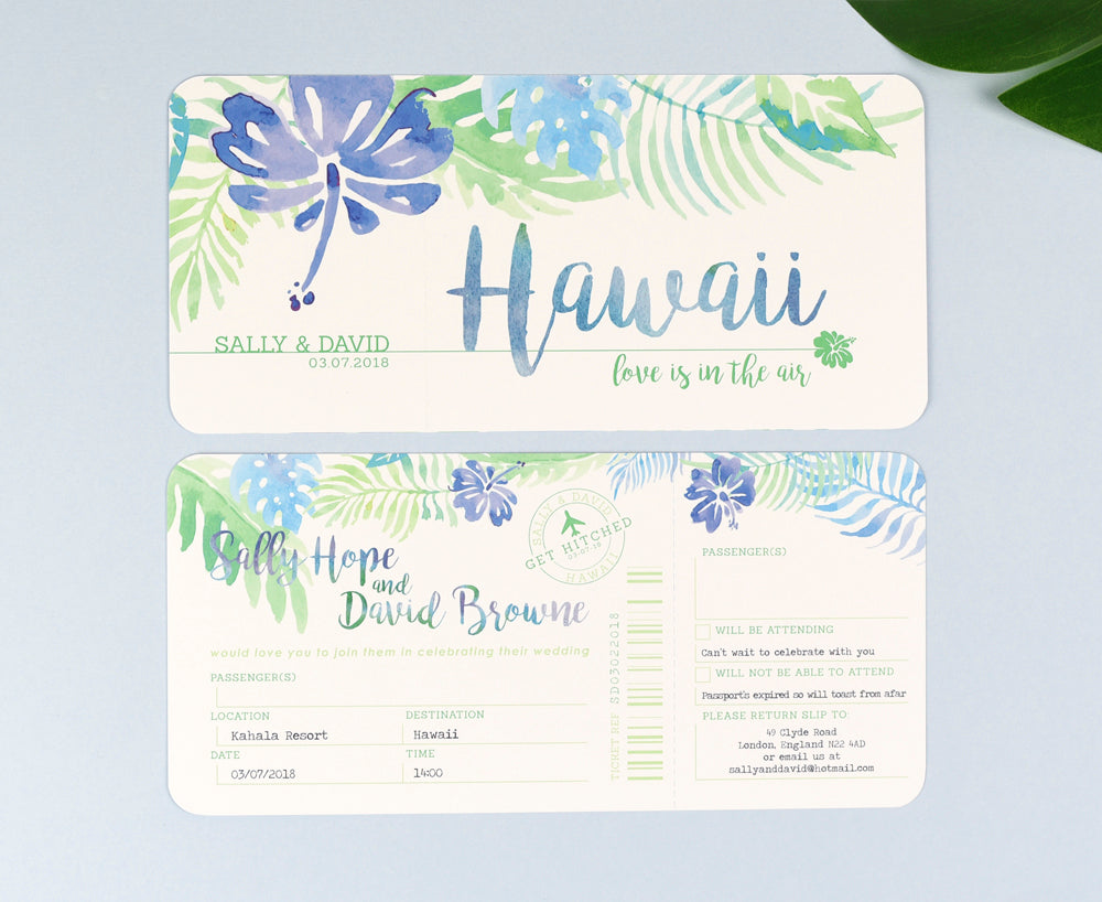 Tropical Airline Ticket Wedding Invitations with tear off RSVP ...