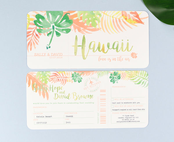 Tropical Airline Ticket Invitation Save the Date or RSVP