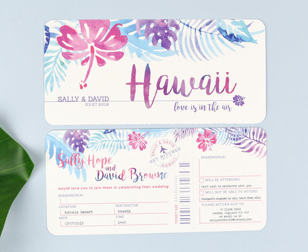 Beach wedding tropical Airline Ticket Invitation Save the Date or RSVP