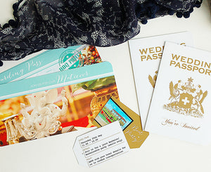 Custom white and gold Tobago Passport Invitation