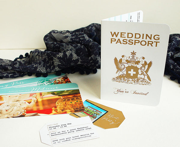Passport Invitation with matching Tickets for Indian Wedding in Tobago