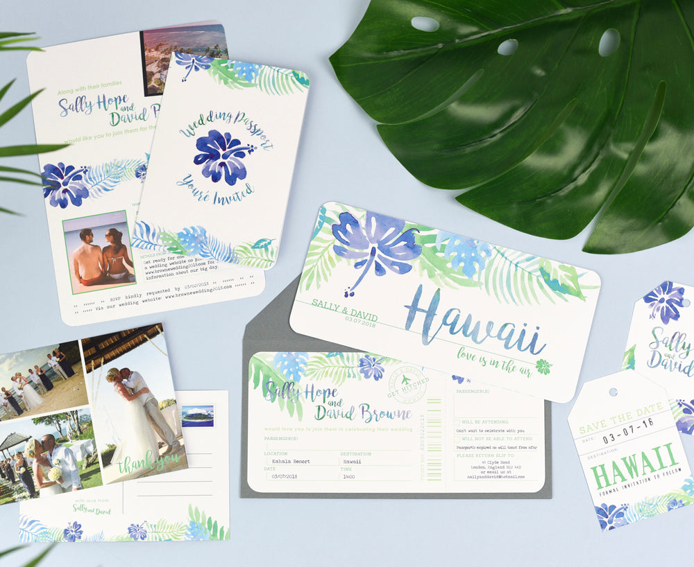 Tropical Travel Wedding Stationery Set of Save the Date, Invites, Thank You Cards