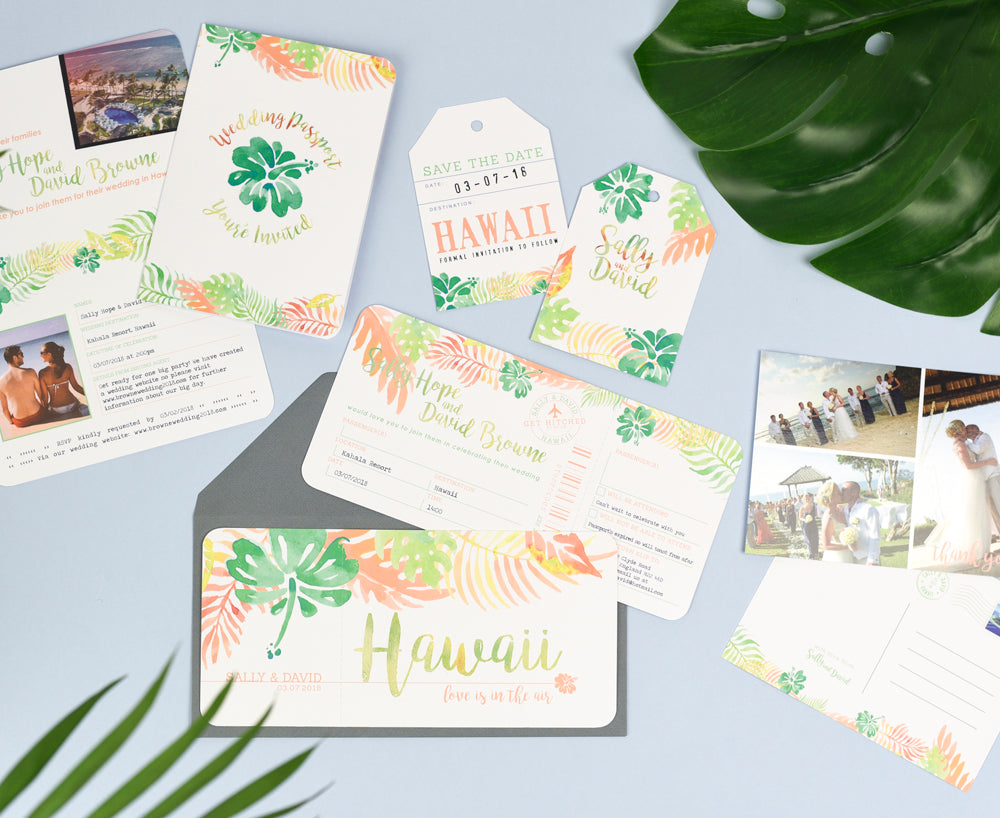 Wedding Stationery Set for Tropical Destination Wedding