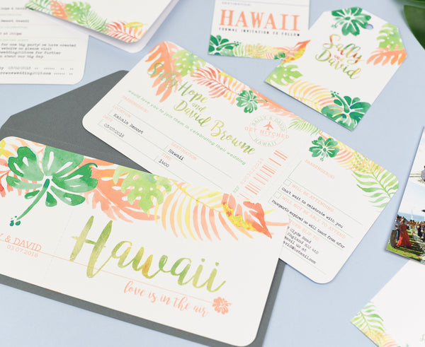 Tropical Airline Ticket Save the Date perfect for your wedding abroad!